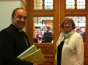 Andrew Weaver with Vicki Huntington MLA